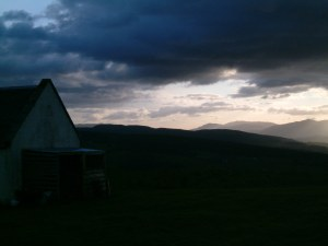Dusk over the hills behind Moniack Mhor